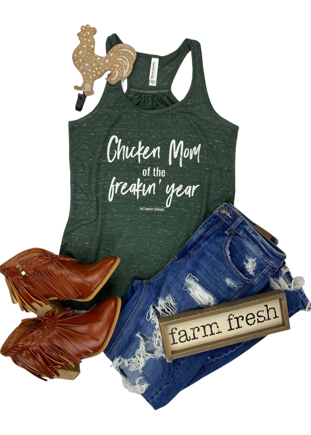 Marble Green Chicken Mom of the Year Tank