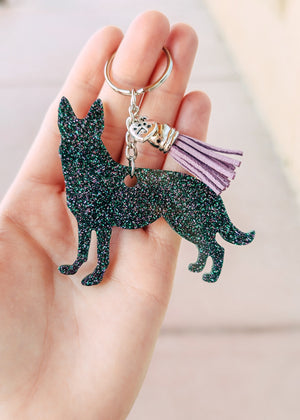 Dark Green & Purple German Shepherd Keychain