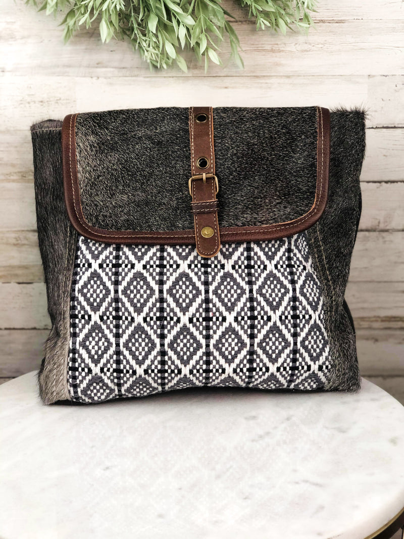 Grey Cowhide Aztec Backpack