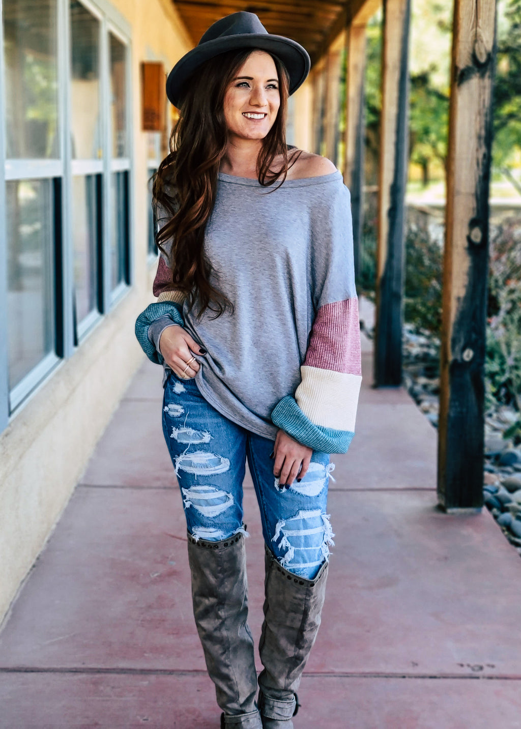 Grey Color Block Long Sleeve Sweater Top