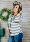 Grey & Off White Stripe Long Sleeve Top on blonde model with accessories