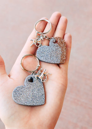 Champagne & Holographic Silver Heart (Set of 2) Keychain