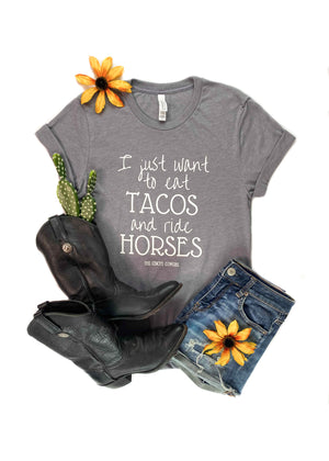 Heather Grey Eat Tacos & Ride Horses Short Sleeve Graphic Tee