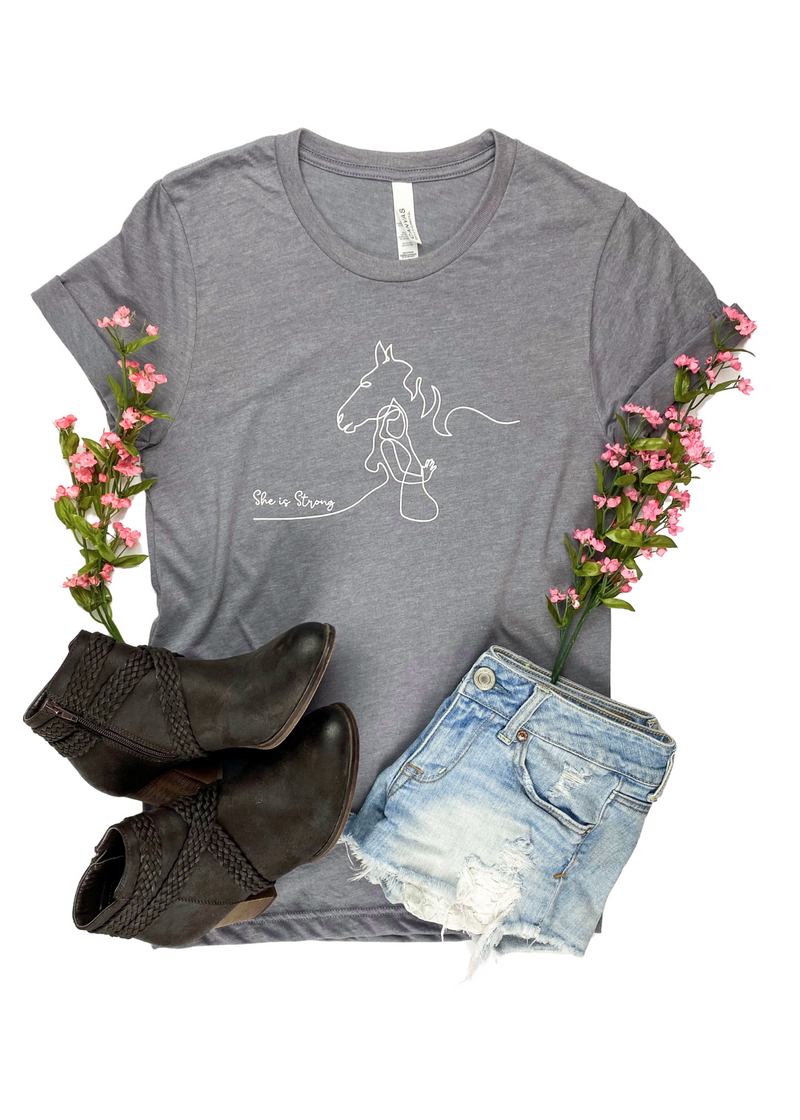 She is Strong Horse Heather Grey Short Sleeve Graphic Tee