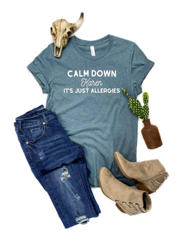 CLOSEOUT- Heather Slate Calm Down Short Sleeve Graphic Tee
