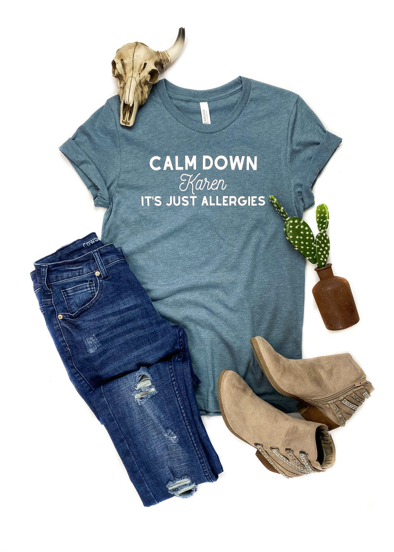 Heather Slate Calm Down Short Sleeve Graphic Tee on white background