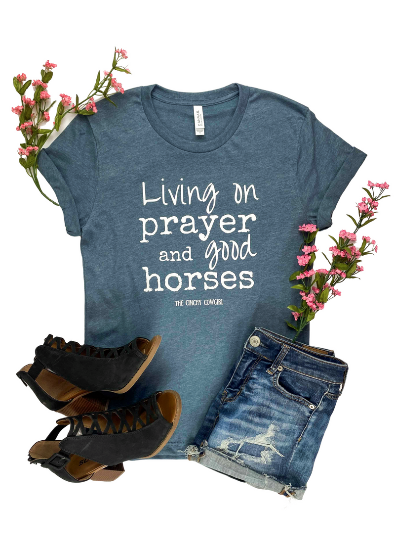 Heather Slate Living on Prayer Short Sleeve Graphic Tee