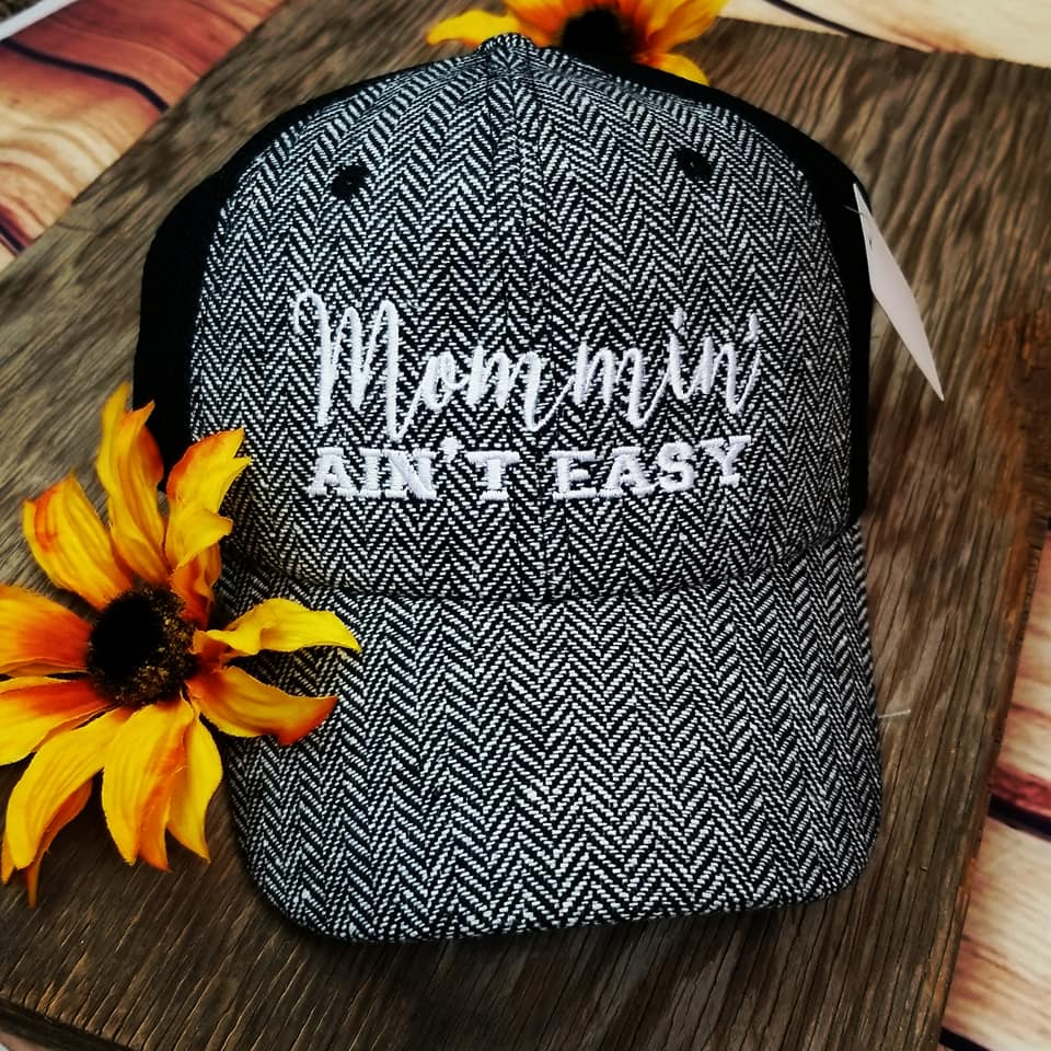 Herringbone Mommin' Ain't Easy Trucker Cap