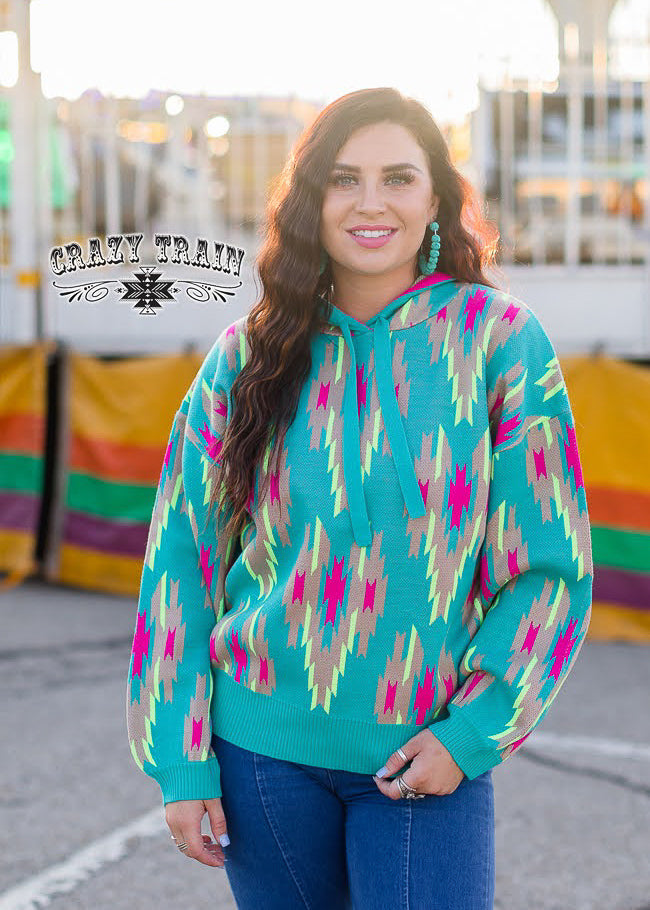 Turquoise Aztec Hoodie on brunette model