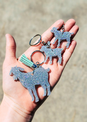 Holographic Silver Goat (Set of 3) Keychain, 1 full size goat, 2 baby goats