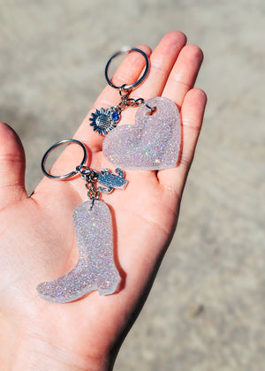 Holographic Silver Boot & Heart (set of 2) Keychain