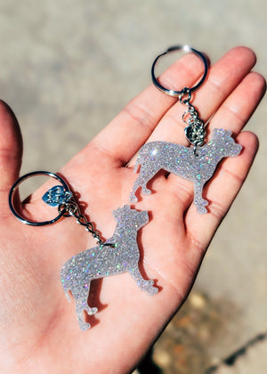 Holographic Silver Pitbull Mini (Set of 2) Keychain