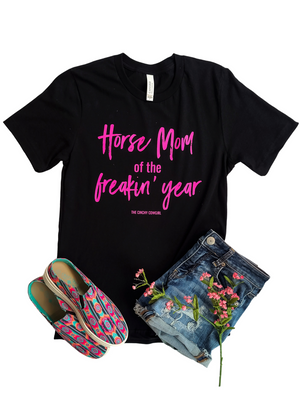 Black Horse Mom of the Freakin' Year Short Sleeve Graphic Tee
