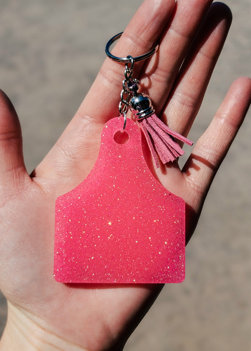 Hot Pink Ear Tag Keychain