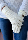 Ivory Knit Gloves on model