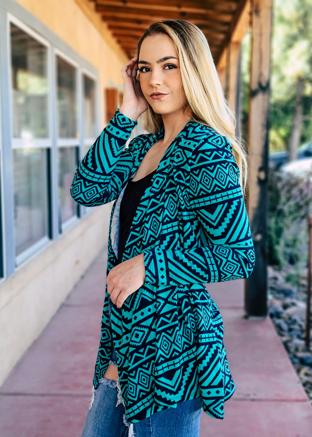 Jade Aztec Drape Cardigan on model
