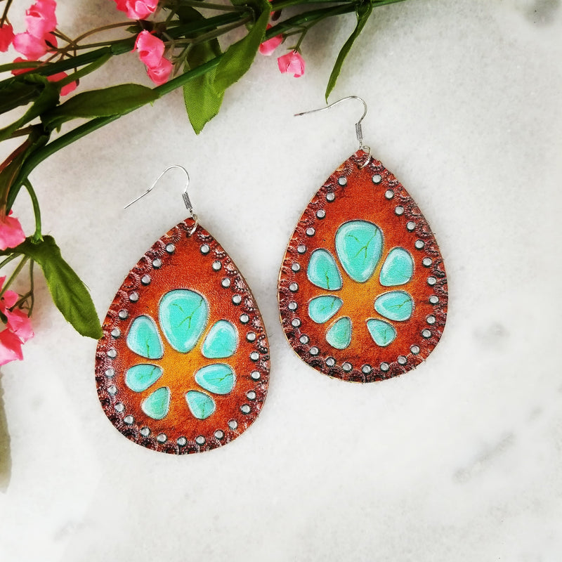 Leather Squash Blossom Teardrop Earrings