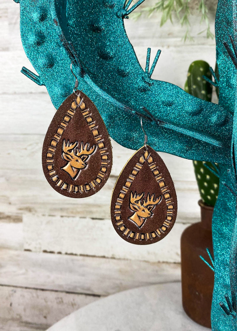 Leather Deer Teardrop Earrings on blonde model