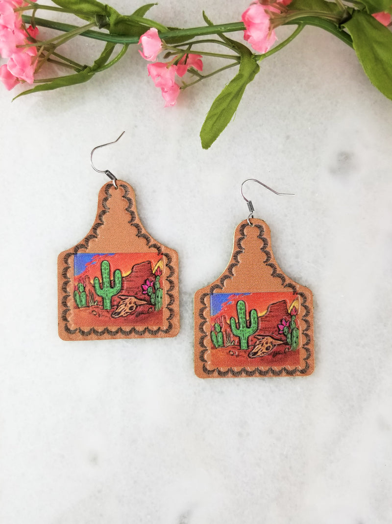 Brown Multi-Colored Leather Cactus Earrings