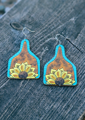 Leather Sunflower Cattle Tag Earrings