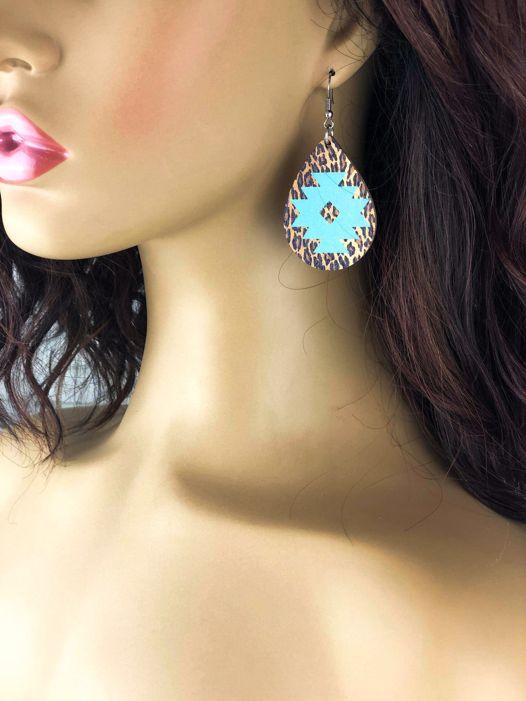 Leopard Mint Aztec Wood Teardrop Earrings