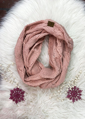 Light Pink Cable Knit Infinity Scarf