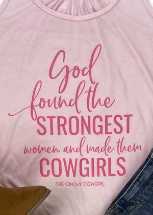 Light Pink God Found the Strongest Women Tank Top