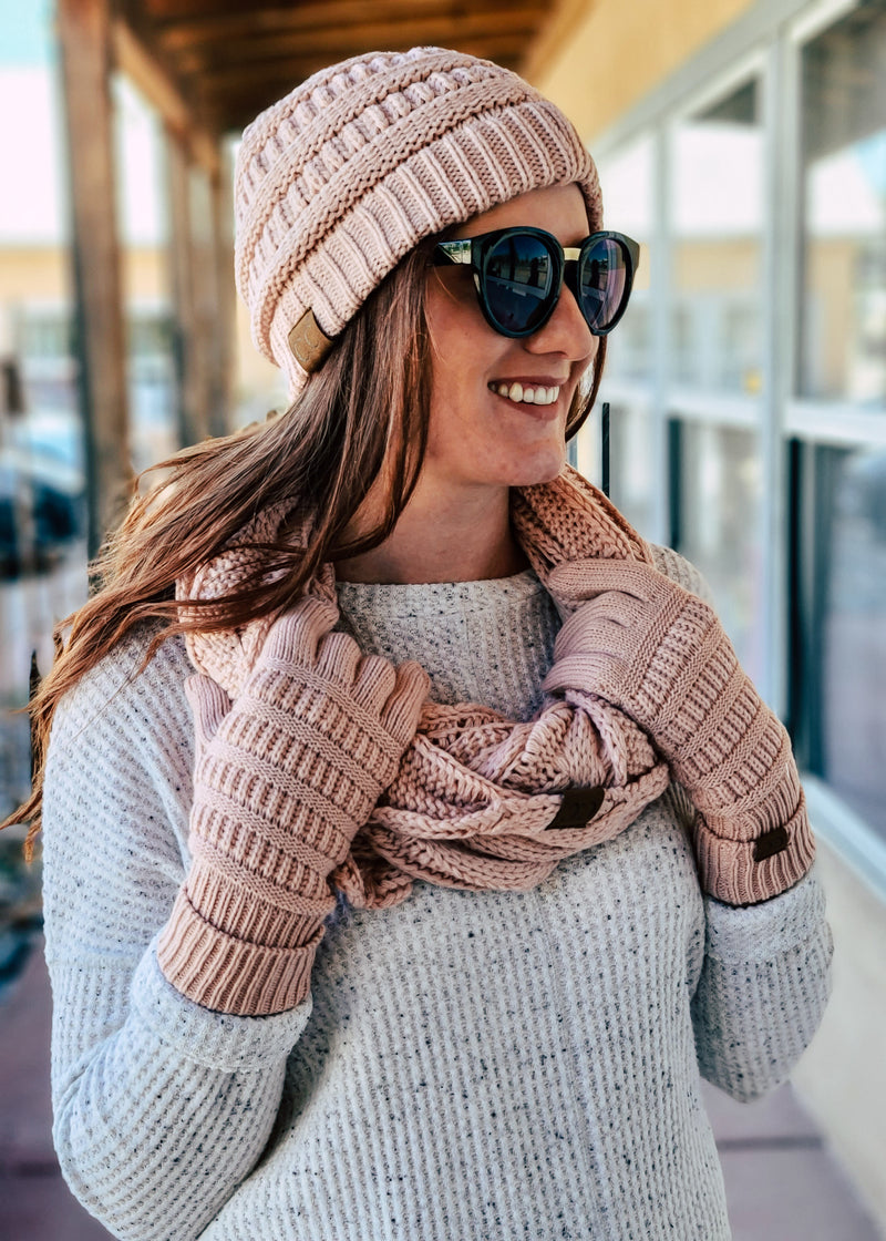 Light Pink Beanie, Scarf & Gloves Matching Set on model