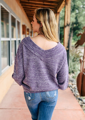 {Free Necklace} Lilac Grey Slouchy Sweater on blonde model, shot outside