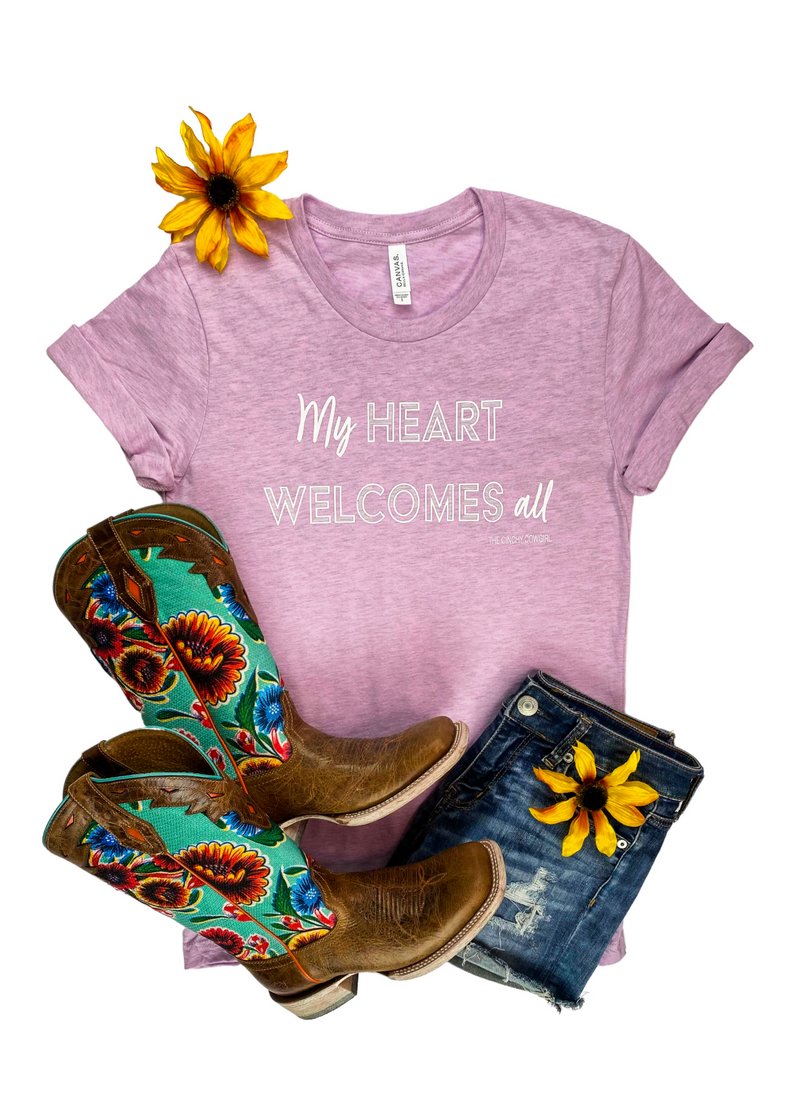 Lilac My Heart Welcomes All Short Sleeve Tee