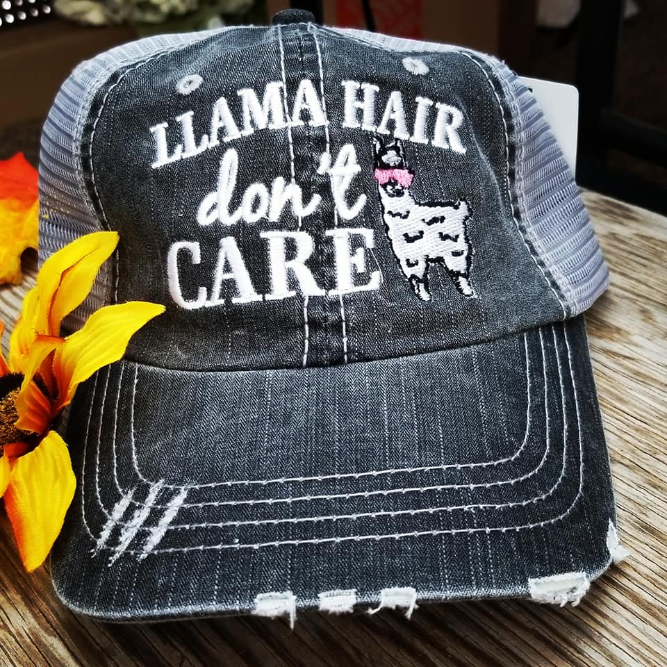 Llama Hair Don't Care Trucker Cap