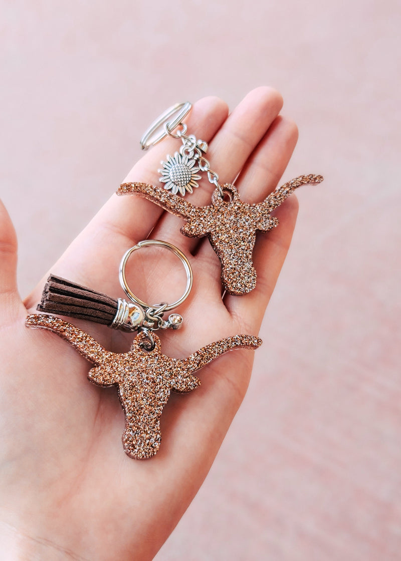 Champagne Longhorn (set of 2) Keychain