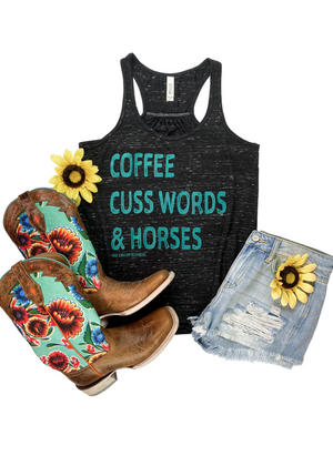 Marble Black Coffee, Cuss Words & Horses Graphic Tank