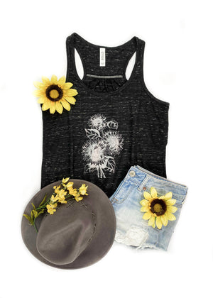 Marble Black Sunflower Graphic Tank
