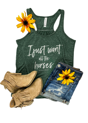 Marble Green I Just Want All The Horses Graphic Tank Top