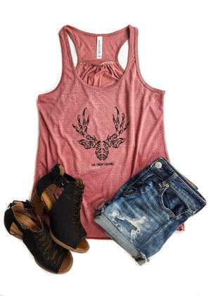Marble Mauve Deer Graphic Tank
