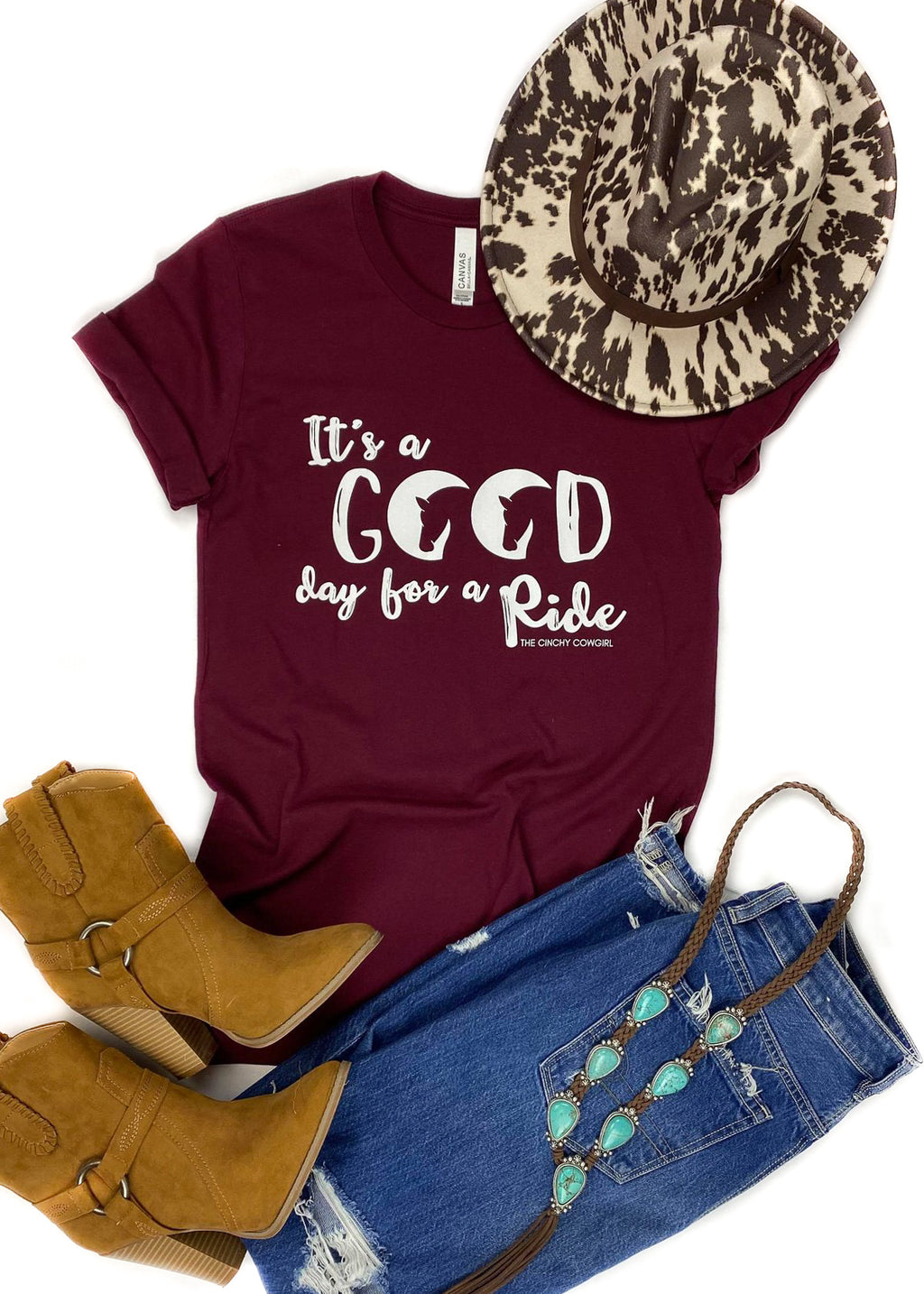 Maroon Good Day For A Ride Short Sleeve Tee