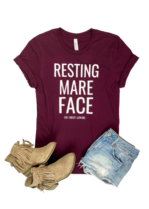 Maroon Resting Mare Face Short Sleeve Graphic Tee