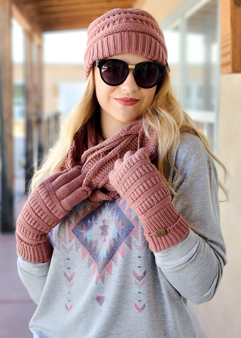 Mauve Beanie, Scarf & Gloves Matching Set on blonde model with sunglasses