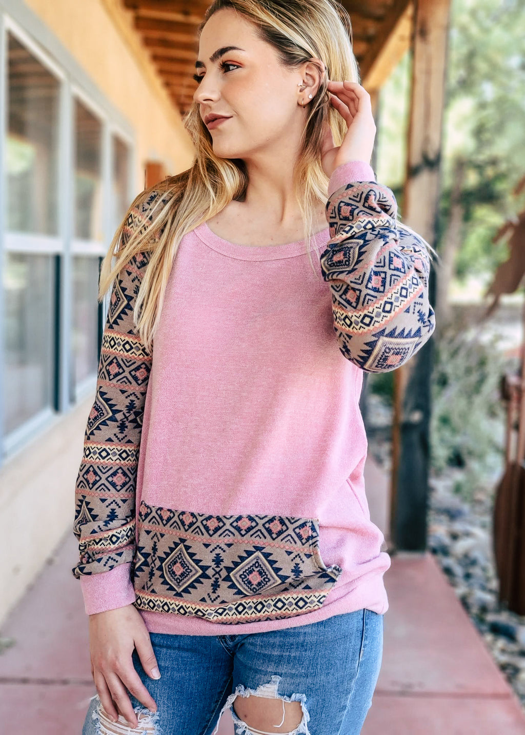 Mauve Aztec Pocket Long Sleeve Top om blonde model with distressed denim jeans