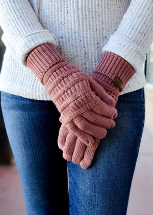 mauve knit gloves
