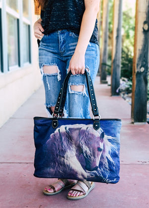 Midnight Horse Canvas Tote Handbag with model