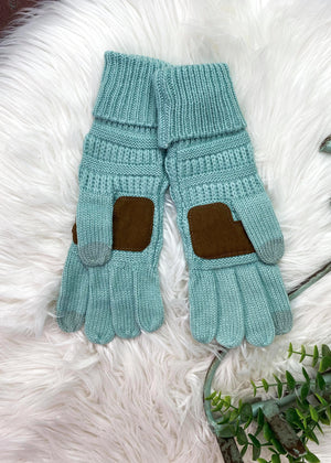 Mint Knit Gloves on white rug