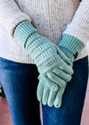 Mint Knit Gloves on model