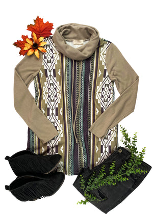Mocha Aztec Cowl Neck Top with black jeans and black fringe booties