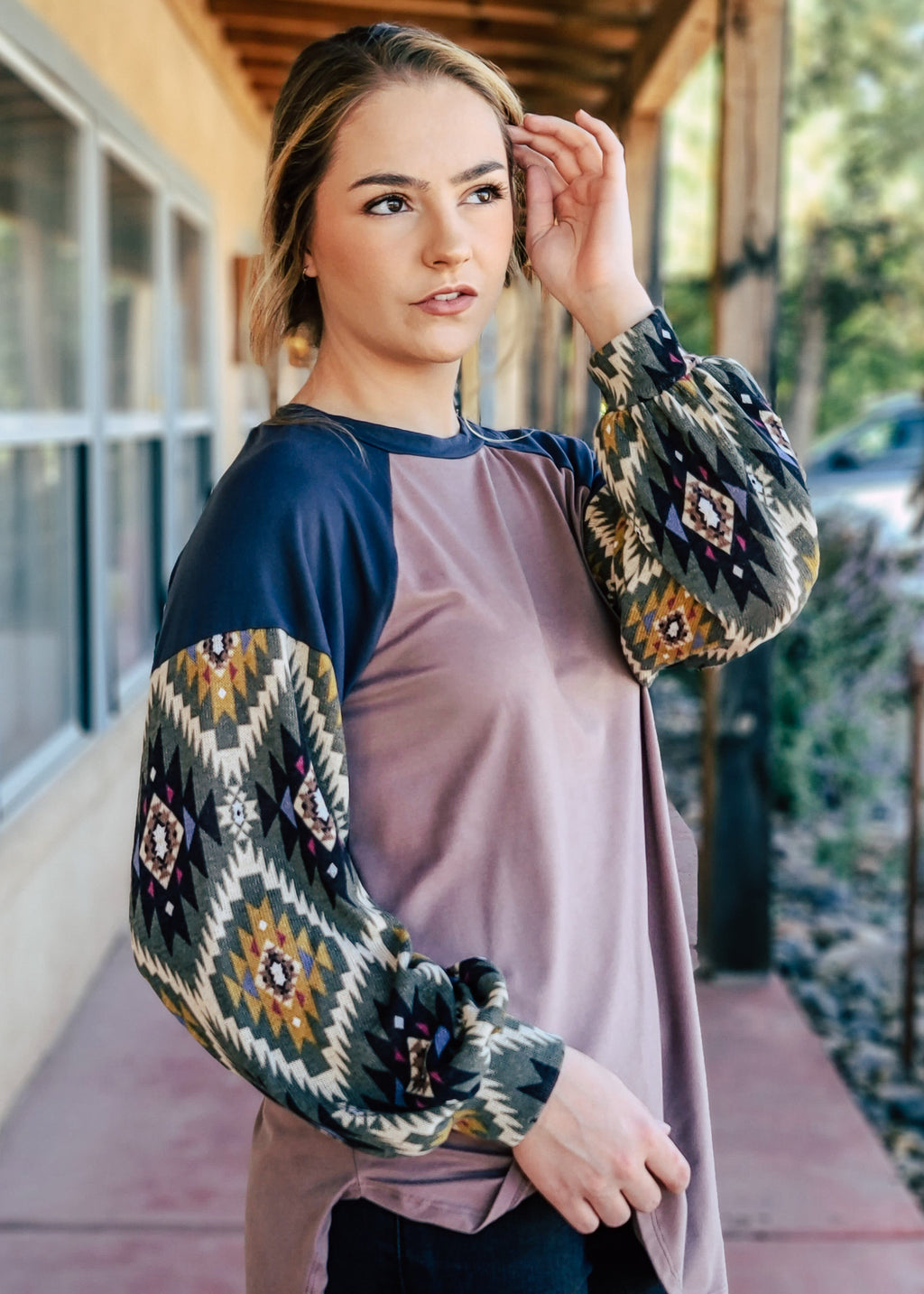 Mocha Navy Aztec Long Sleeve Top on model