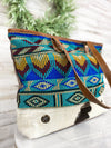 multi color cowhide aztec tote handbag