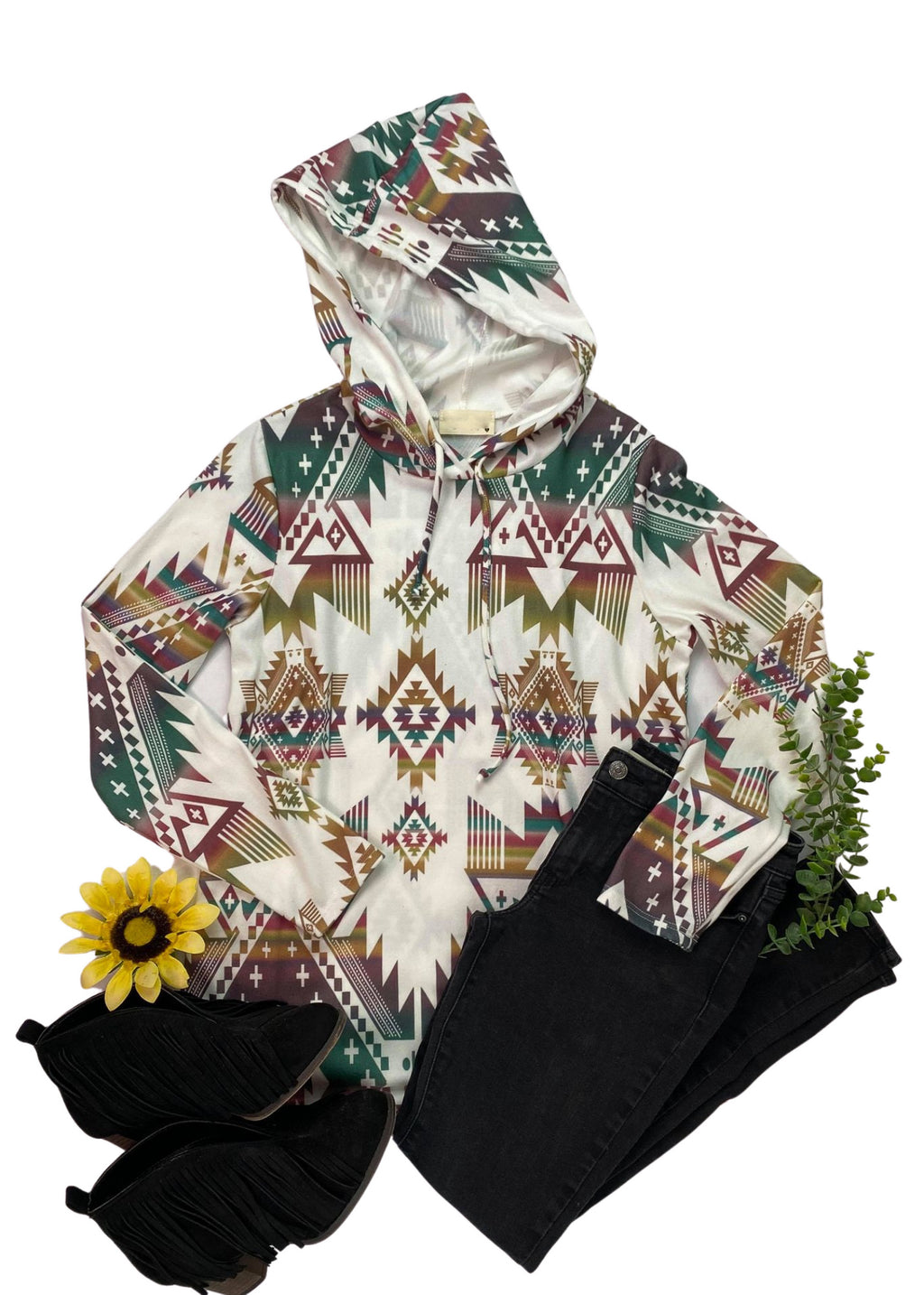 Multi Color Aztec Hoodie Long Sleeve Top on white background