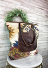 Multi Color Aztec Pocket Tote Handbag, large front leather pocket with leather strap handles
