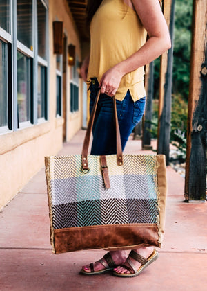 Plaid Multi Color Weekender Bag with model